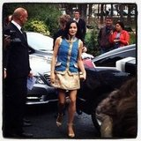Leigh Lezark arrived at the Chanel show wearing a stunning blue and gold look from the brand.