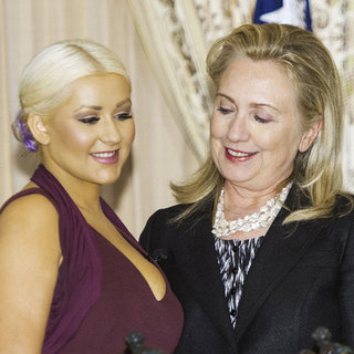 Hillary Clinton and Christina Aguilera in Washington DC
