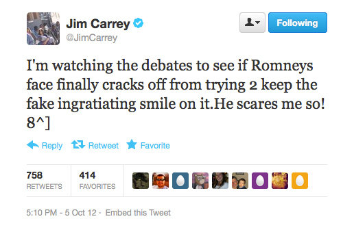 Jim Carrey weighs in on the US Presidential candidates' debate.