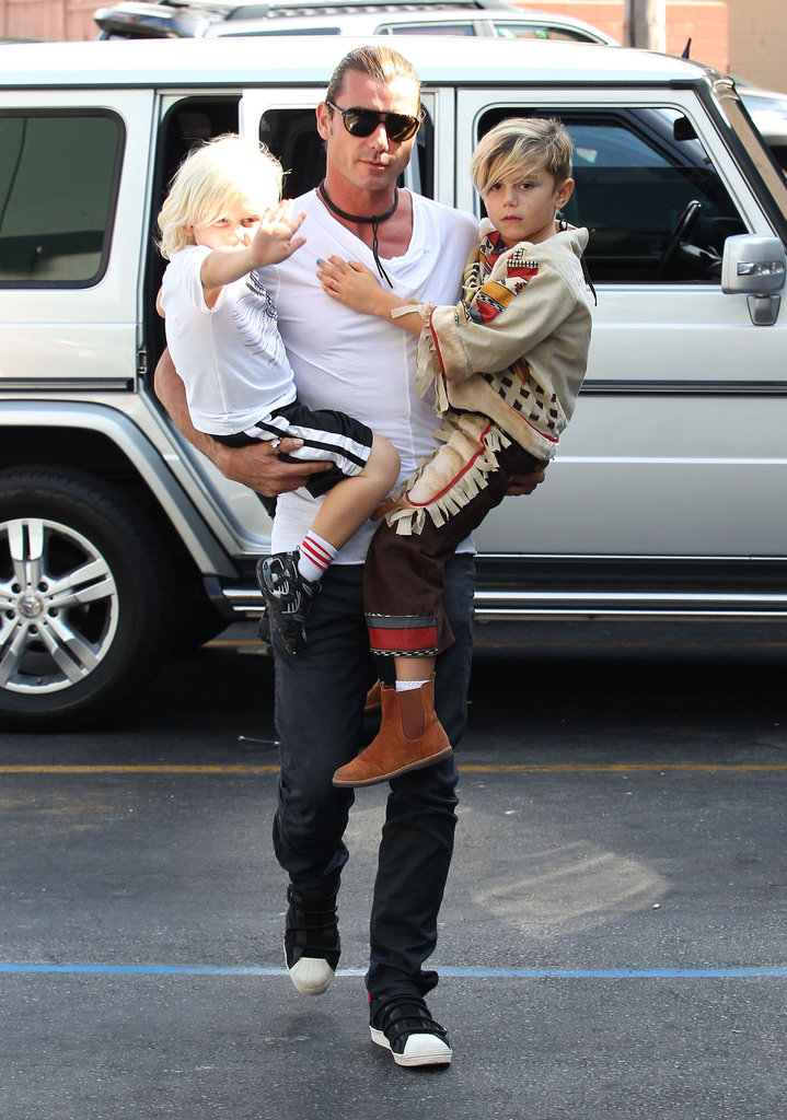 Gavin Rossdale carried sons Kingston and Zuma in LA.