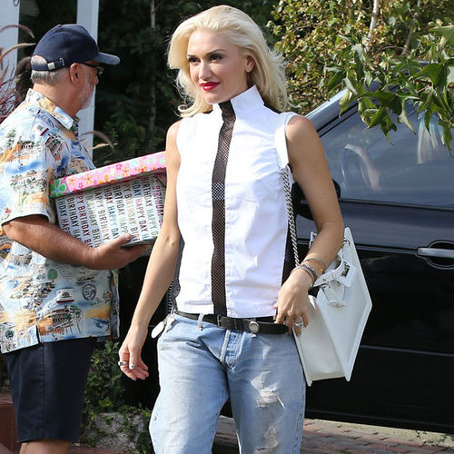 Gwen Stefani Wearing Sheer Back Top