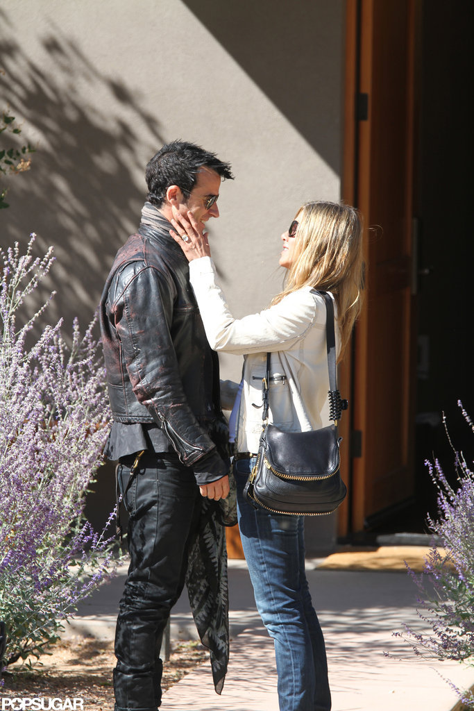 Jennifer Aniston and Justin Theroux announced their engagement in August 2012 but waited until October that year to debut her huge engagement ring during a couple's getaway to Santa Fe, NM.