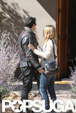 Justin Theroux and Jennifer Aniston debuted her ring in New Mexico.
