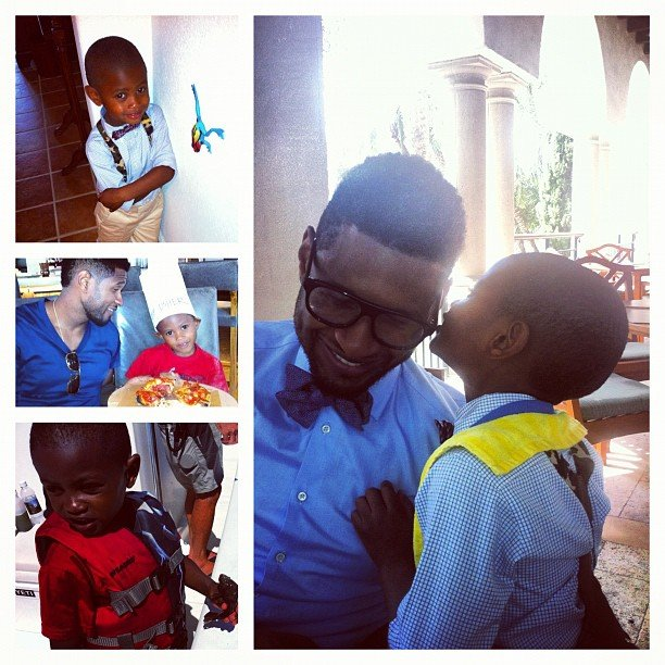 Usher shared a group of adorable photos of Usher V and Naviyd on Father's Day in June 2012. Source: Instagram user howuseeit