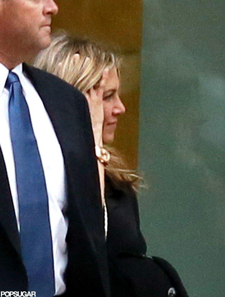 Jennifer Aniston headed into a building in Boston.