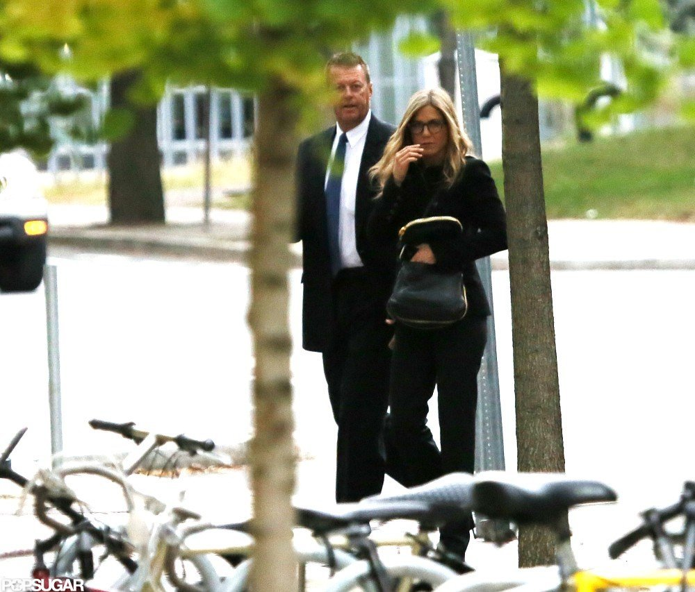 Jennifer Aniston sported a pair of glasses in Boston.