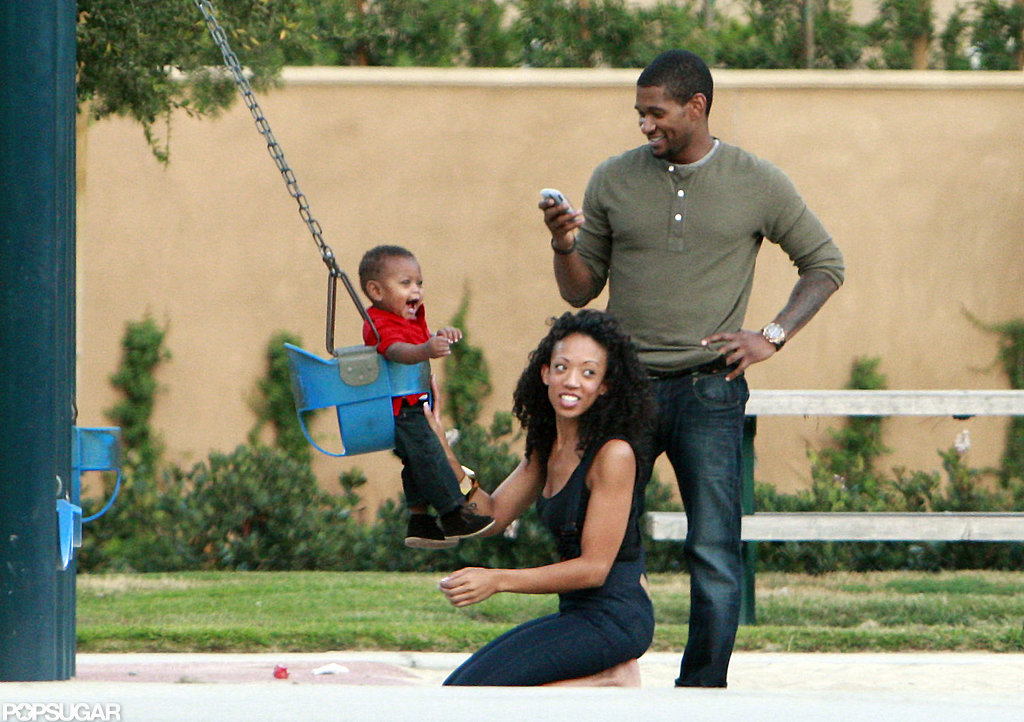 Usher took cell phone pictures of a smiley Usher V while visiting a Los Angeles park in 2008.