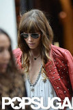 Jessica Biel wore a studded red leather jacket in Paris.