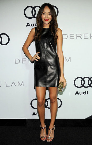 Ashley Madekwe styled her Derek Lam leather shift with a pair of eye-catching metallic t-straps.