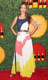 Alessandra Ambrosio cinched her colorblocked BCBG maxi dress with an exotic double-strap belt.
