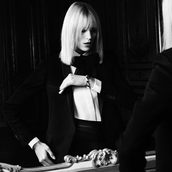 Anja Rubik Dons Le Smoking For Saint Laurent