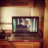 Jaime King watched Homeland in her trailer on the set of Hart of Dixie. Source: Instagram user jaime_king