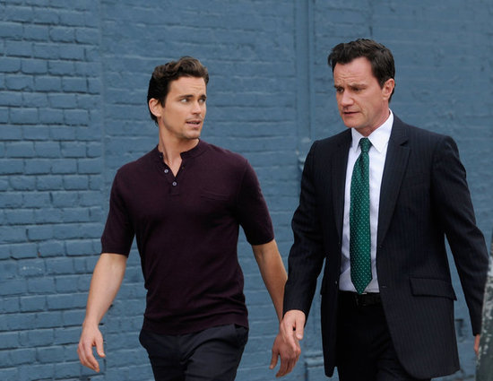 White Collar costars Matt Bomer and Tim Dekay went over lines during a shoot in NYC in Mary 2012.