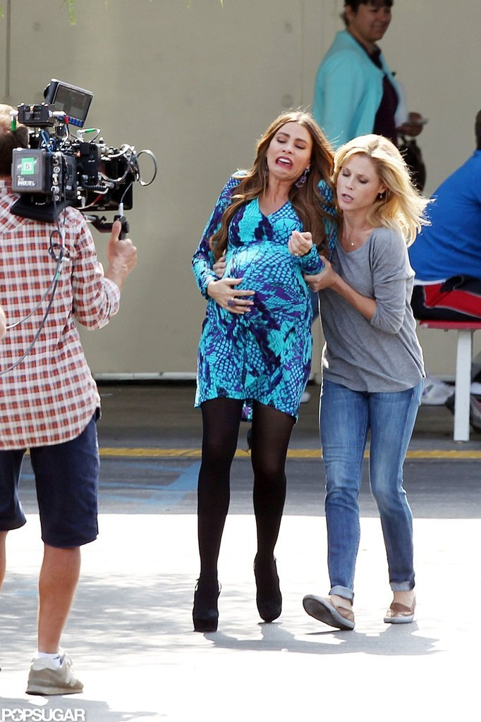 Sofia Vergara and Julie Bowen filmed a labor scene for Modern Family in LA.