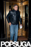 George Clooney left his Manhattan hotel with Stacey Keibler for a night out.