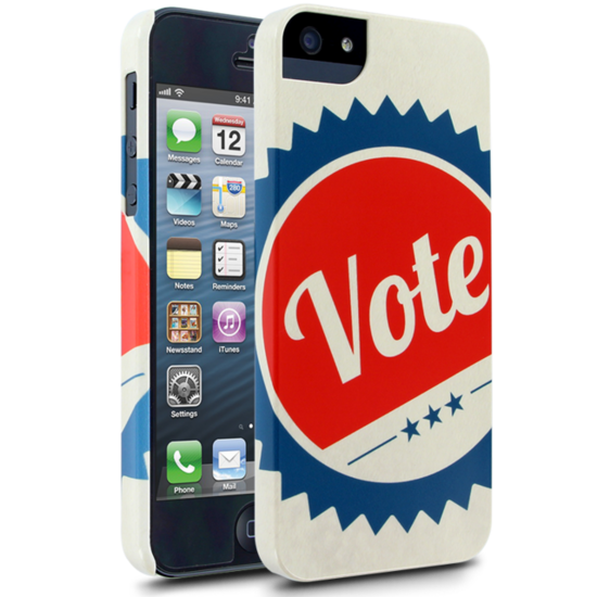 V is for victory — and vote! Let passersby know how important voting is with this bold election vote case ($25).