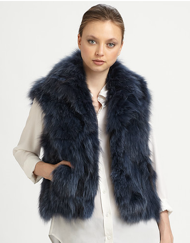 We love the dark slate blue hue and cropped cut of this Adrienne Landau Fox Vest ($795).