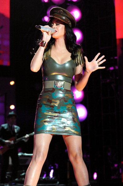 Katy Perry performed during VH1 Divas Salute the Troops wearing a skintight camouflage number in December 2010 in Miramar, CA.