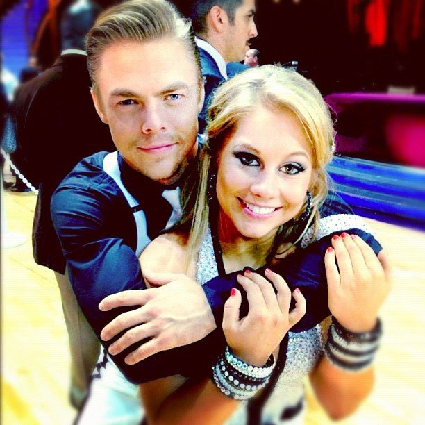 Derek Hough and Shawn Johnson celebrated making it to the next round on DWTS. Source: Instagram user @shawnjohnson