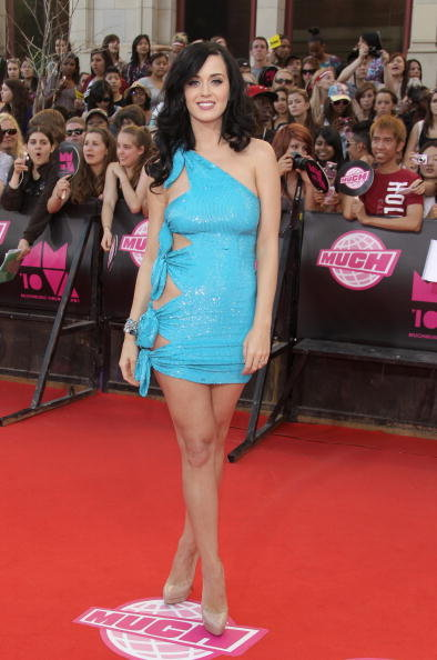 Katy Perry graced the red carpet in a revealing blue minidress at the MuchMusic Awards in Toronto in June 2010.