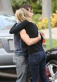 Emma Stone hugged a friend.