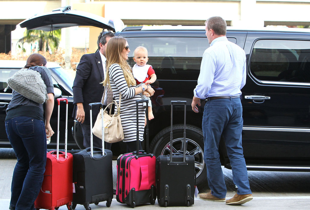 Jacqui Ainsley and Guy Ritchie brought Rafael to the airport.