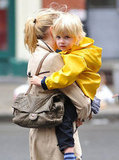 Naomi Watts's son Kai wore rain gear for a day out in NYC.
