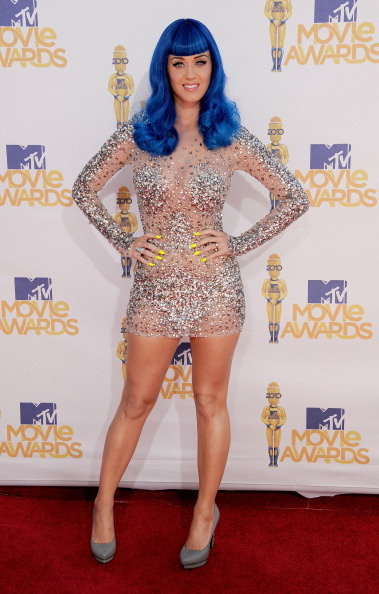 Katy Perry wore a sheer, sparkly dress to the June 2010 MTV Movie Awards at Universal City's Gibson Amphitheater.