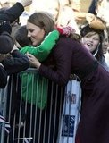 Kate Middleton gave a hug to a young fan at the Newcastle Civic Centre.