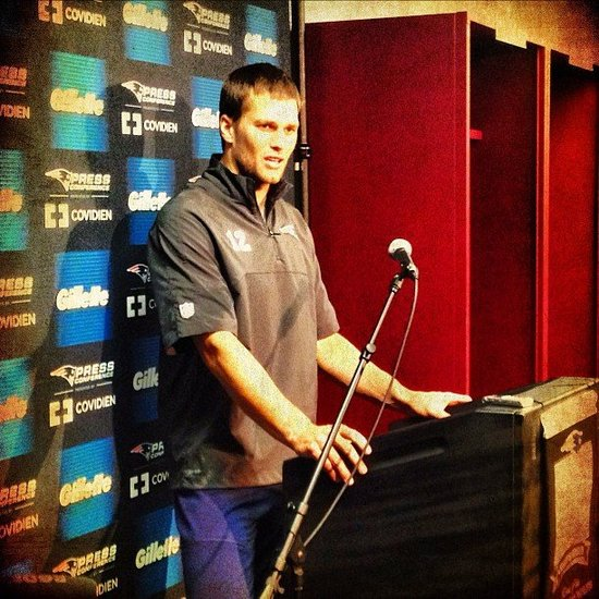 Tom Brady attended a press conference for the New England Patriots. Source: Twitter user Patriots