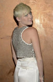 Miley Cyrus showed off her blond cropped hair.