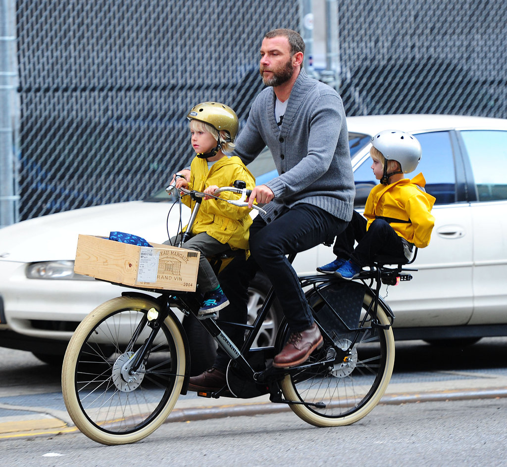 Liev Schreiber had both boys on his bike for a ride around NYC.