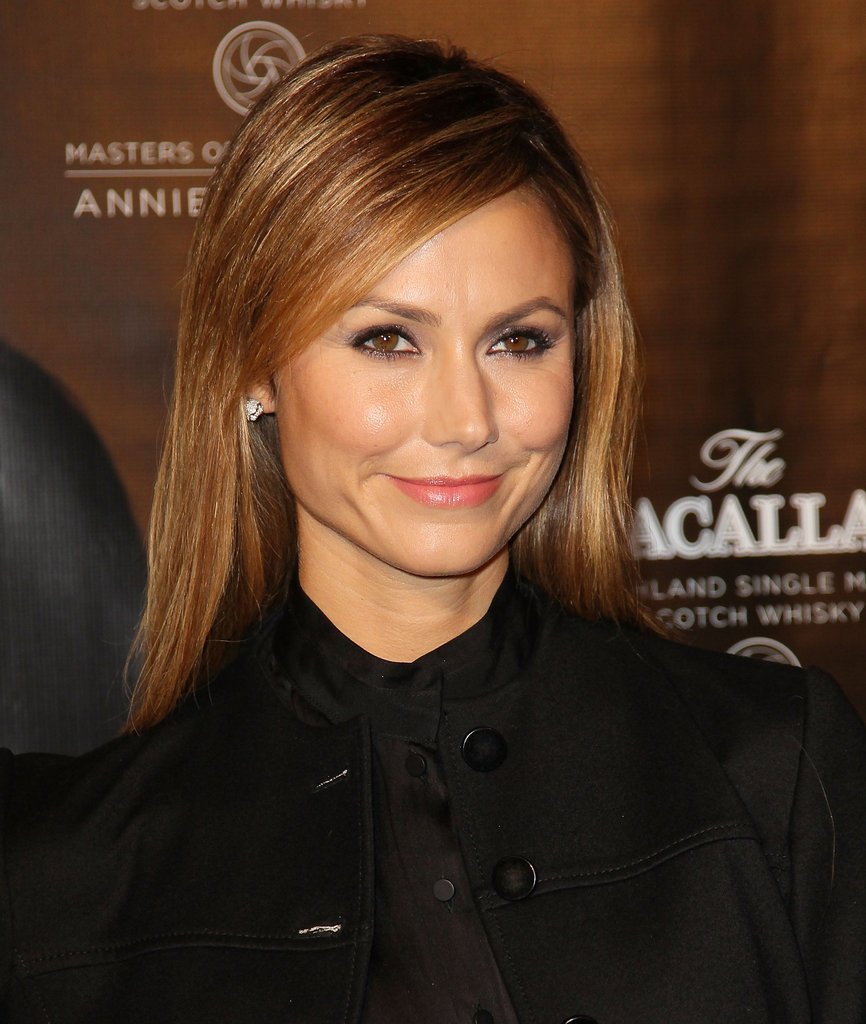 Stacy Keibler chose simple hair and natural makeup for a night out in NYC.