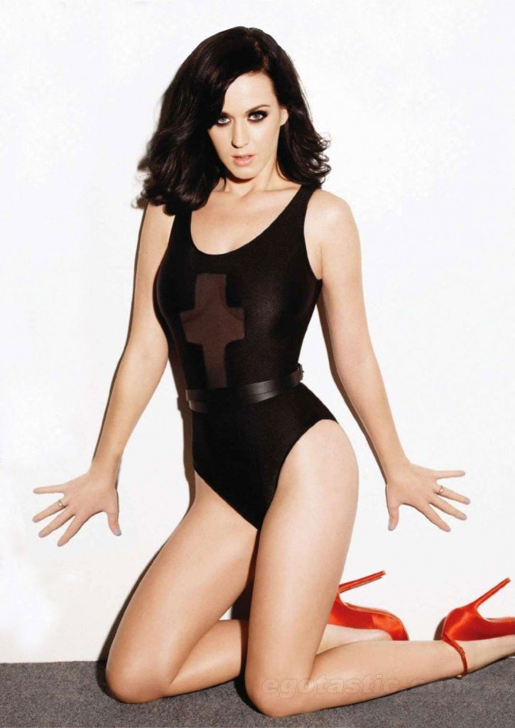 Katy Perry stripped down to a black leopard and heels for Maxim's January 2011 issue.