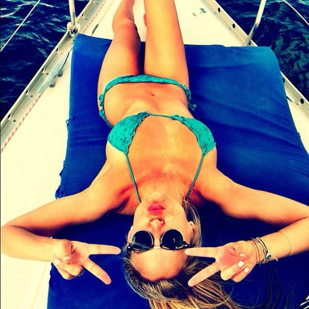 Bar Refaeli spent time on a boat in her bikini. Source: Instagram user barrefaeli