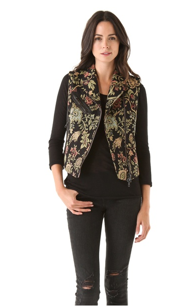 This opulent-feeling Rag & Bone Tapestry Mughal Moto Vest ($695) would redefine any look, even a basic black ensemble (at left).