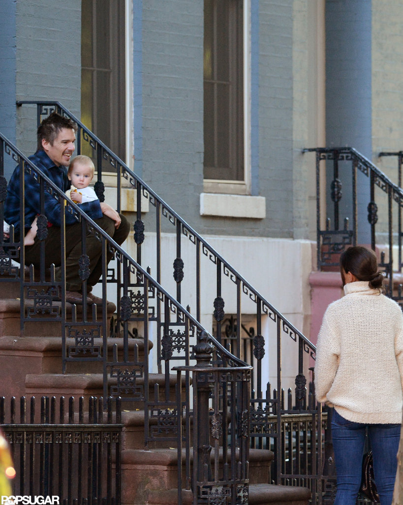 Ethan Hawke and Katie Homes talked outside in NYC.