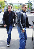 George Clooney and Rande Gerber left lunch at Bouchon Bistro in LA.