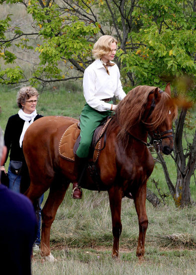 Nicole Kidman rode a horse on the set of Grace of Monaco in Monaco.