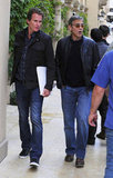 George Clooney and Rande Gerber went out to lunch at Bouchon Bistro in LA.