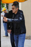 George Clooney wore a black leather jacket for a lunch outing with Rande Gerber in LA.