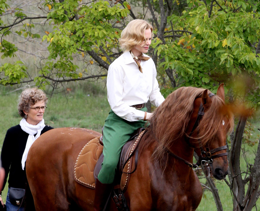 Nicole Kidman rode a horse to film Grace of Monaco in Monaco.