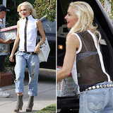 Give your boyfriend jeans a sexier spin with a sheer top à la Gwen Stefani.