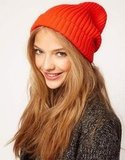 Take on the boyfriend-inspired look with this orange chunky ribbed knit boyfriend beanie from ASOS ($10).