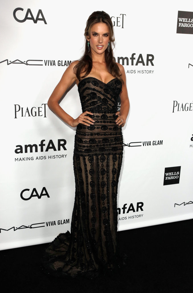 Alessandra Ambrosio stunned in a black embroidered couture gown by Zuhair Murad at the amfAR Inspiration Gala in LA.