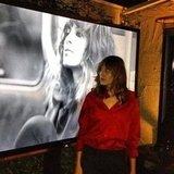 Alexa Chung posed with her campaign for Maje at a party last night.