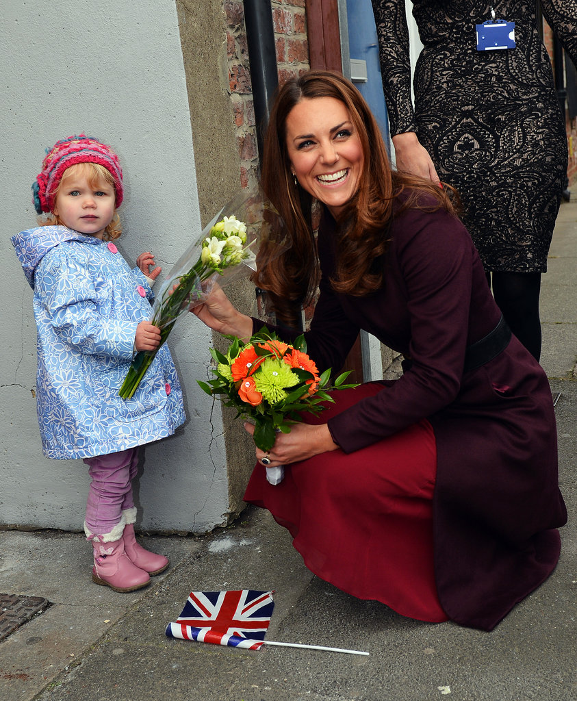 Kate Middleton accepted flowers from a young fan in England on October 10.
