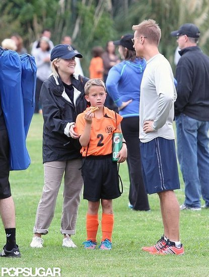 Reese Witherspoon gave her son Deacon Phillippe a pat on the back after his soccer game in LA.