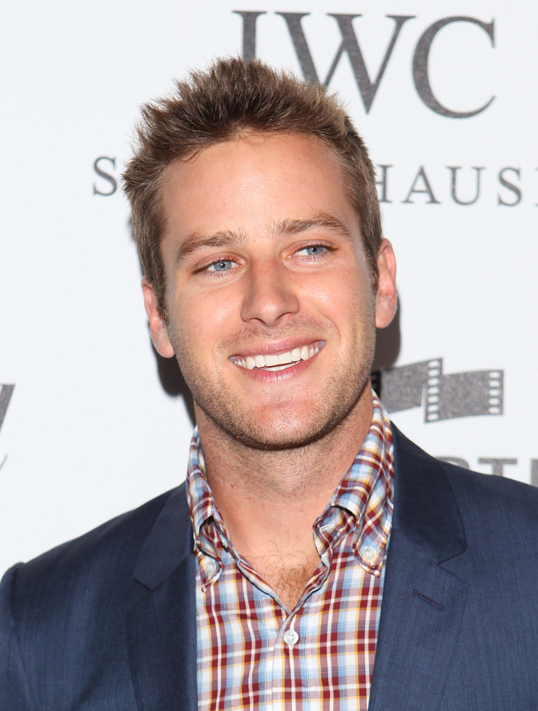 Armie Hammer wore a plaid shirt under his blue blazer for the Reel Stories, Real Lives event in LA.