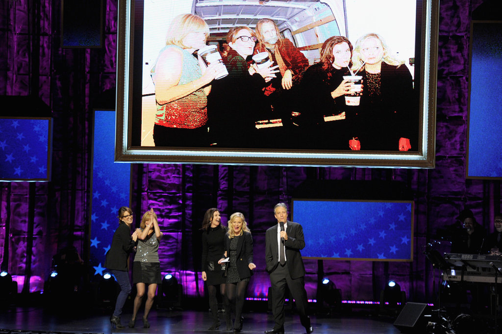 Tina Fey, Amy Poehler and Jon Stewart appeared on stage at the benefit in NYC.